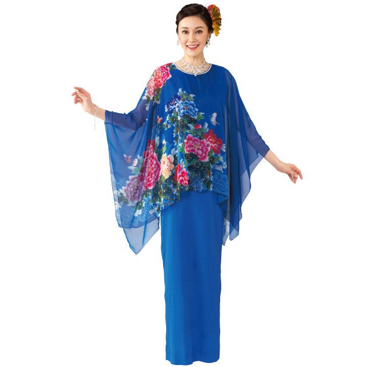 【カラードレス】シフォンプリントケープドレス OP438-3588▼カラオケ ステージ衣装 ロングドレス