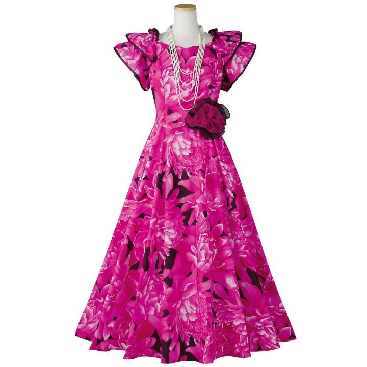 【フラダンス衣装】フラワープリントドレス OP431-2-3590▼フラドレス ワンピース ロングドレス