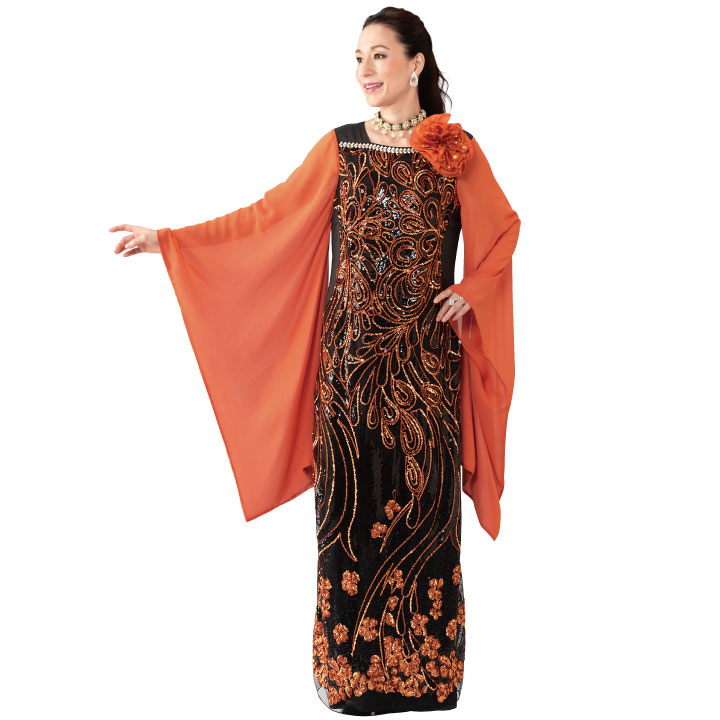 【カラオケ衣装】細見せスパンコール刺繍ドレス OP439-3591▼ロングドレス ステージ 着物風ドレス
