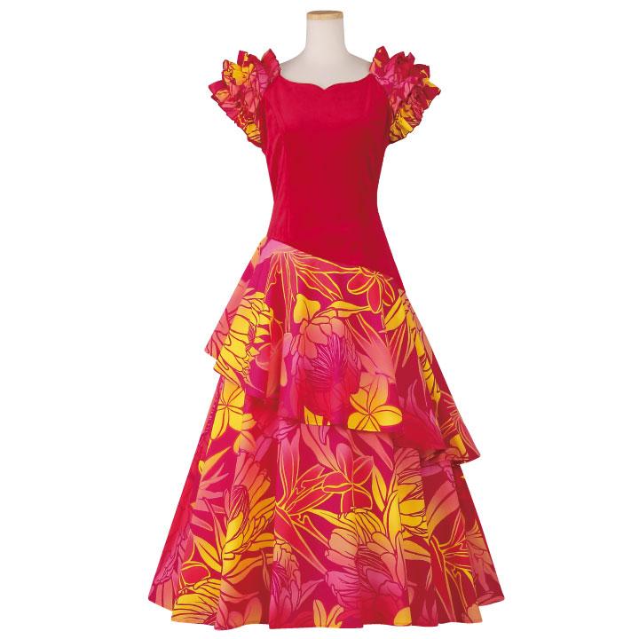 【フラダンス】ベロア切替ティアードドレス OP420-5-3603▼ロングドレス ワンピース 衣装