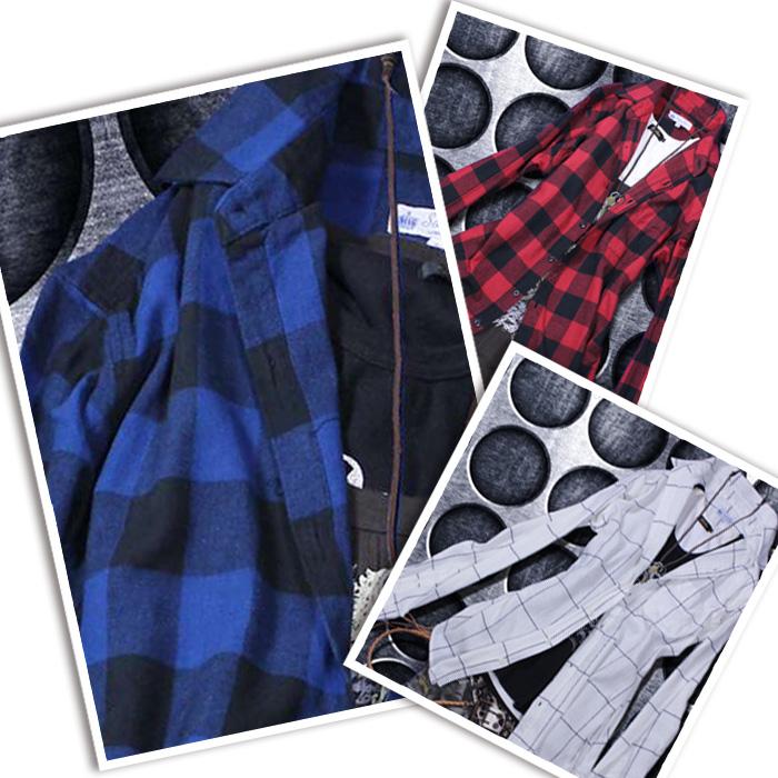 0bb4101bc7d3 avril  Check shirt men long sleeves 6 color Viyella raising check ...