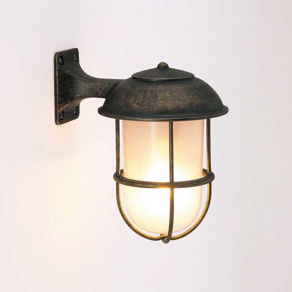 送料無料 照明 玄関灯 屋外照明 マリンランプ 船舶 ガーデンライト 防雨仕様 真鍮製 おしゃれ照明 枕木 門柱 ゴーリキアイランド BR5000曇りガラス27000