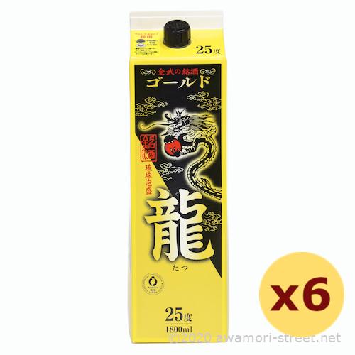 泡盛 金武酒造 / ゴールド龍 紙パック 25度,1800ml / 6本セット