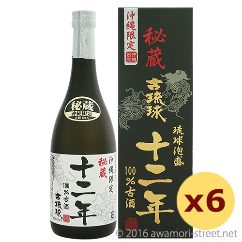 泡盛 忠孝酒造 / 古琉球 12年100%古酒 25度,720ml ×6本セット