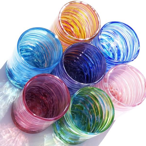 琉球ガラス:美ら海グラス大(全6色):源河源吉