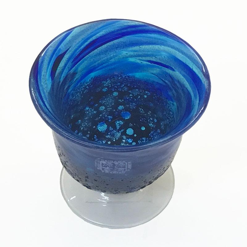 琉球ガラス:ワイングラス コバルト (全2色):源河源吉