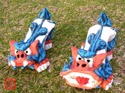 西口洋一さん手作り【オリジナル漆喰シーサーペア】サイズ:中色:ブルー