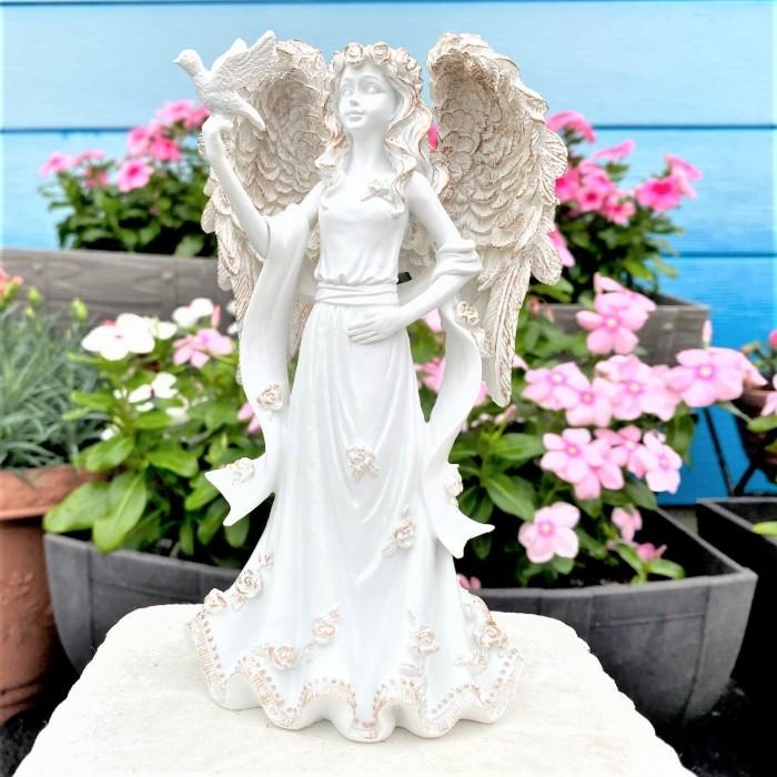 訳あり品送料無料 平和の象徴の鳩を従えた美しい天使人気のシリーズを入荷しました ≪天使雑貨 エンジェル雑貨 置物≫ 白い天使ブランシュ エンジェルオブピース インテリア置物 576653 バラ雑貨 ギフト 薔薇 贈り物 エンジェル 永遠の定番 プレゼント