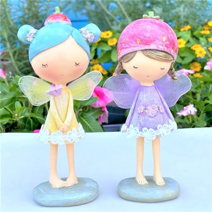 まんまるなお顔が可愛らしいオシャレな妖精ニューフェアリーシリーズのイチゴモチーフの妖精です ≪妖精雑貨 置物≫まんまる可愛いパステルカラー チュチュフェアリー ストロベリー 海外 インテリア フェアリー ギフト雑貨 オーナメント 置物 贈り物 オブジェ 誕生日 プレゼント 引出物