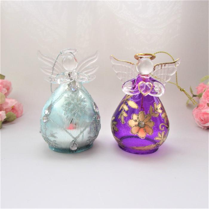 代引き不可 ぷっくりした形がとっても人気 ≪天使雑貨 置物≫ ガラスの天使 新着セール ぷっくりガラスエンジェル エンジェル雑貨 インテリア小物置物 アイスブルーパープル 天使