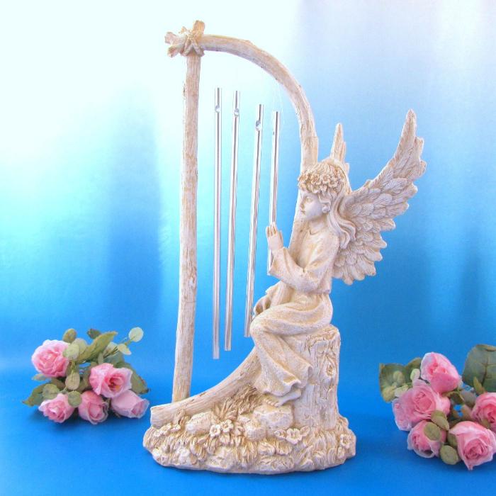 ≪天使雑貨*エンジェル雑貨*置物≫ 天使が奏でる天上の音色【エンジェル ウィンドチャイム】 ロマン社 天使像 インテリア置物 ガーデン