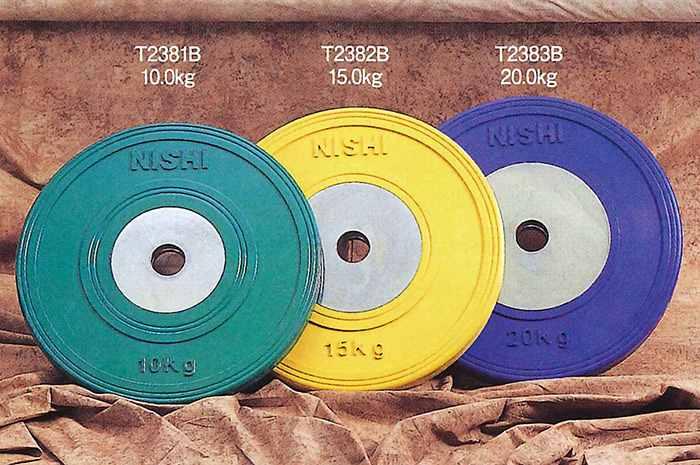 【送料無料】【NISHI ニシスポーツ】【トレーニング用品】 ラバープレート (φ50mmバー用 10.0kg) HGラバープレート50 カラーラバータイプ バーベルプレート 筋トレ T2381B [200410]