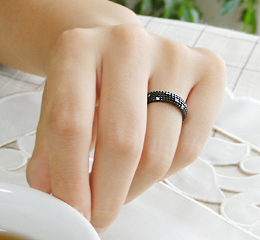 k10WG ダイヤモンド ブラックリング