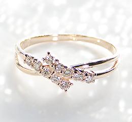 k10PG/WG/YG 0.2ctダイヤモンドリング【ピンキー対応可能】可愛い 10石 テンダイヤ 可愛い 人気 10金 0.2カラット ダイヤ ダイア 指輪 レディース 重ねづけ プレゼント