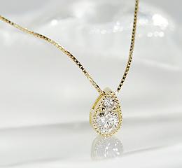 K18PG/WG/YG ダイヤモンペンダント ゴールド かわいい 人気 ネックレス ダイヤネックレス ダイヤモンドペンダント 18金 一粒 シンプル ご褒美 贈り物 誕生日 アンティーク 露 つゆ 涙 雫ドロップ