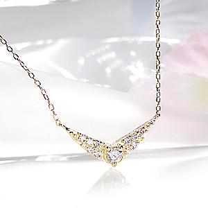 ファッション ジュエリー アクセサリー レディース ネックレス ペンダント イエローゴールド ホワイトゴールド ピンクゴールド ダイヤモンド ダイアモンド ダイア ダイヤ V V字 代引手数料無料 送料無料 品質保証書 4月誕生石 プレゼント