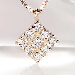 k18YG/WG/PG【0.1ct】ひし形 ダイヤモンド ペンダントダイヤモンド ネックレス 18k ファッション アクセサリー ホワイト イエロー ピンク 0.1カラット 送料無料 代引手数料無料 品質保証書