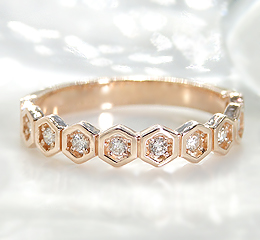 K10PG/YG/WG 六角形モチーフダイヤモンドリング