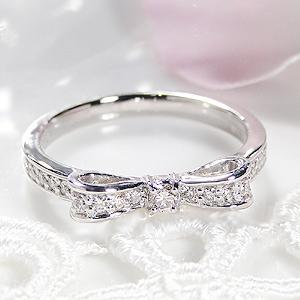 ジュエリー アクセサリー レディース 指輪 リング プラチナ ダイヤモンド リボン 0.2カラット 裏抜きなし りぼん ダイア pt900 送料無料 代引手数料無料 品質保証書 刻印無料
