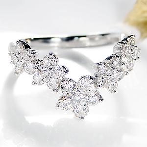 ☆pt900【1.0ct】フラワー ダイヤモンドリング