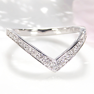 Pt900 Vライン ダイヤモンド リング