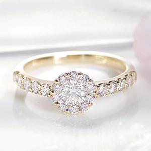 ☆K18YG/WG/PG 0.8ct ダイヤモンド リング指輪 ファッションリング ゴールド ダイヤモンド 花 フラワー 取り巻き 0.3カラット 0.5カラット ダイア 18k 18金 送料無料 代引手数料無料 品質保証書 刻印無料