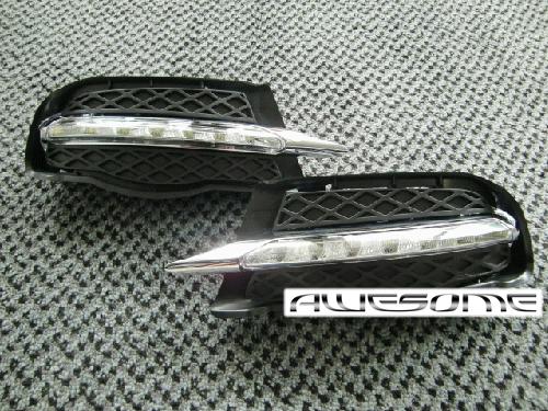 W204(ベンツCクラス)前期用 LEDデイライト (一文字型)+ グリル + g-PROMO取り付けキット 【mercedes-benz】【メルセデスベンツ】10P05Nov16