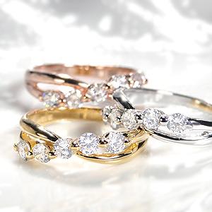 ☆K18PG/YG/WG ダイヤモンド ウェーブ リング【0.5ctUP】指輪 大粒 ピンク イエロー ホワイト ダイヤ リング ダイア クロス エックス ウエーブ ウェーブ 18金 k18 4月誕生石 ピンキー ギフト 重ねづけ ゴールド