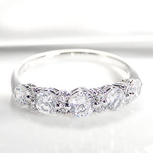 ◆Pt900 グラデーション ダイヤモンド リング【1.0ct】ファッション ジュエリー レディース 指輪 リング プラチナ ダイヤ エタニティ ダイヤリング ダイア pt900 4月誕生石 ギフト ピンキー ブライダル 豪華 5石 結婚 婚約
