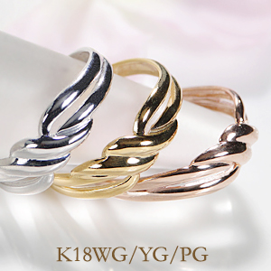 K18WG/YG/PG ピンキー リングファッション ジュエリー アクセサリー レディース 指輪 リング ピンクゴールド イエローゴールド ホワイトゴールド リング ギフト プレゼント ツイスト ピンキー スパイラル 重ねづけ