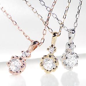 【楽天市場】一粒ダイヤモンド ネックレス Nude 0.1ct K18 一粒