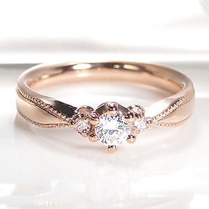 ☆K18PG/YG/WG【0.23ct】ミルククラウン 一粒 ダイヤモンド リング指輪 ピンク イエロー ホワイト ダイヤ リング ダイア クラシカル アンティーク ピンキー 18金 4月誕生石 ギフト 人気 可愛い おしゃれ 重ねづけ ゴールド