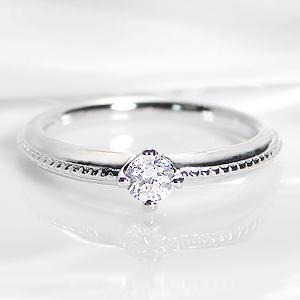☆Pt900 ひと粒 ダイヤモンド ミル打ち リング【0.2ct】指輪 大粒 1粒 プラチナ ダイヤ リング ダイア ミル打ち 4月誕生石 ギフト 重ねづけ ブライダル 婚約 結婚 人気 可愛い おしゃれ