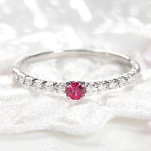 ☆Pt900 レッドスピネル ダイヤモンド リング エタニティ 指輪 1粒 プラチナ ダイヤ リング ダイア ひと粒 入学祝い 一粒石 4月誕生石 ギフト 重ねづけ 希少石 レッドスピネル