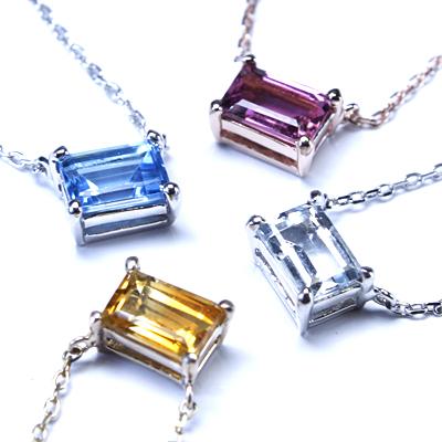 STROGETK10ゴールド 4色から選べる四角い色石ペンダント【05P12Oct14】