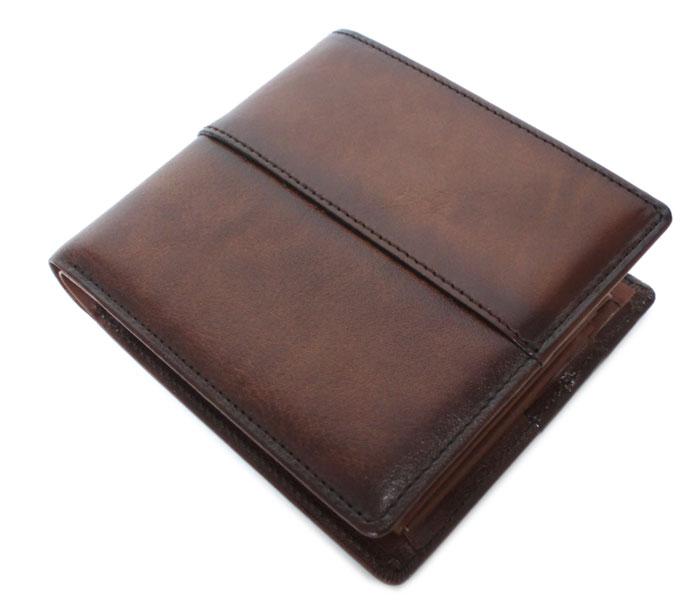 二つ折り財布 財布 71895 ロ・オム・プレッセ LO HOMME PRESSE 牛革シュリンク手染め仕上げ アルカイック