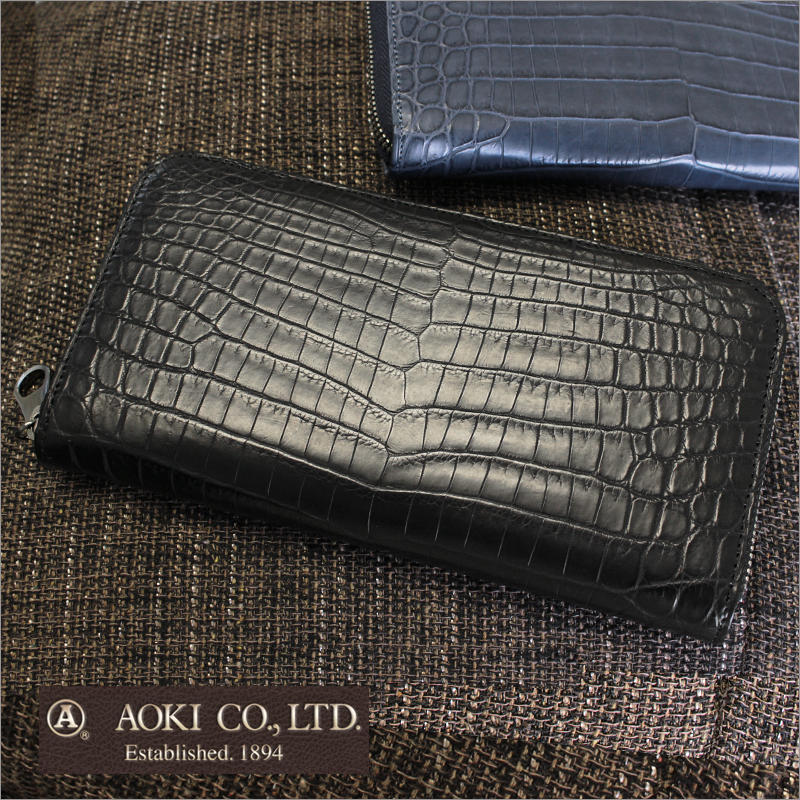 長財布 財布 2483 2508 青木鞄 ラゲージアオキ1894 ラウンドファスナー Matt Crocodile マットクロコダイル