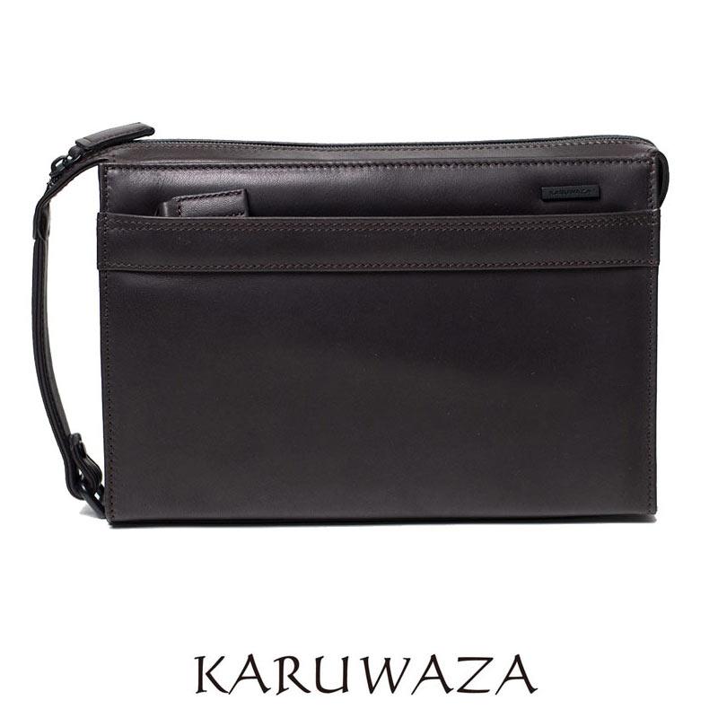 セカンドバッグ 018261 KARUWAZA 軽業 カルワザ 3角マチ 26cm サイドハンドル