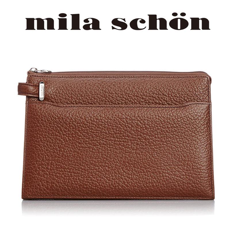 【傘カバープレゼント!】セカンドバッグ 197202 ミラショーン mila schon 3角マチ 29cm Nero ネロ