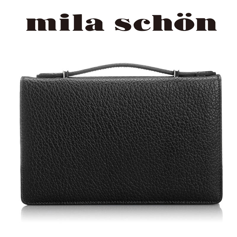 セカンドバッグ 197206 ミラショーン mila schon イカ手ハンドル ボックス型25cm Nero ネロ