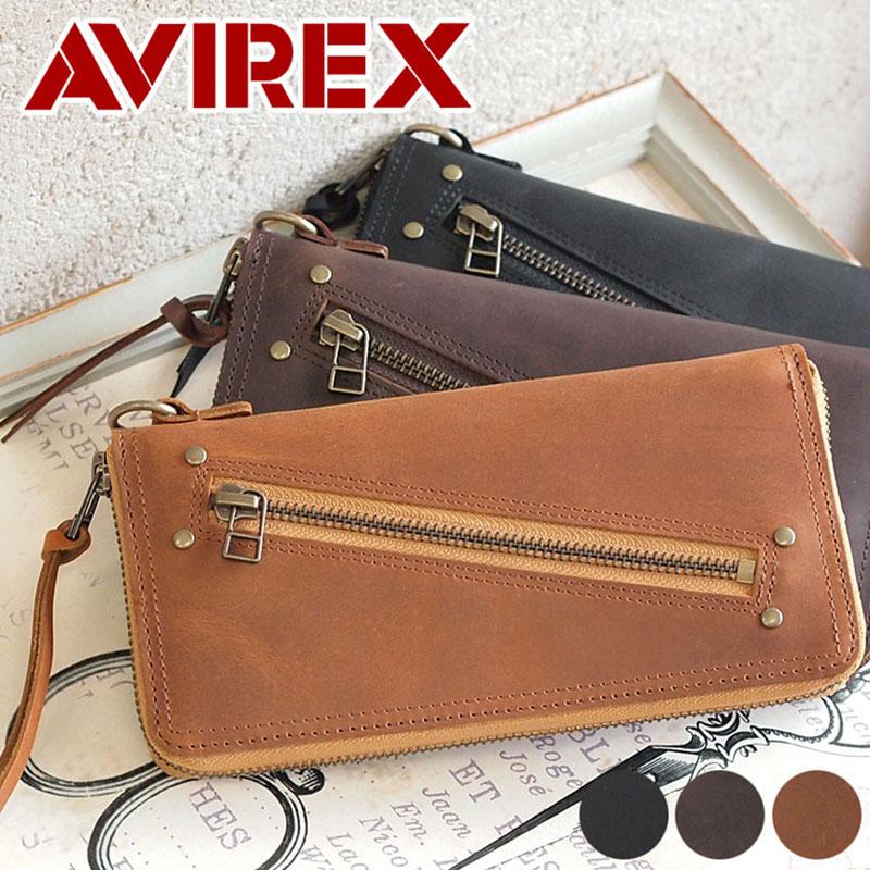 長財布 財布 AVX1705 アビレックス アヴィレックス AVIREX ラウンドファスナーSLIFT スリフト