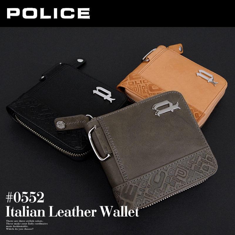 二つ折り財布 財布 0552/PA-6102 ポリス POLICE ラウンドファスナー イタリアンヌメ
