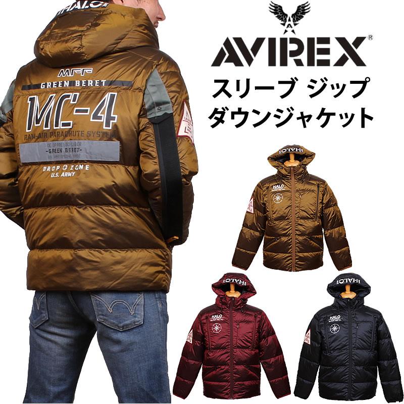 AVIREX アビレックス スリーブ ジップ ダウン ジャケットアヴィレックス 6192157_68_34_09アクス三信/AXS SANSHIN/サンシン【¥29000(本体)+税】