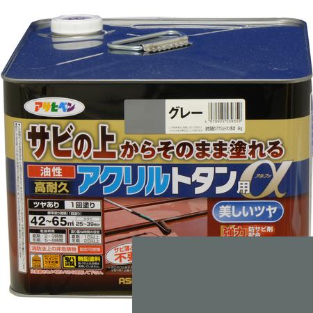 油性高耐久アクリルトタン用α 6KG グレー【アサヒペン 塗料 屋根 トタン】