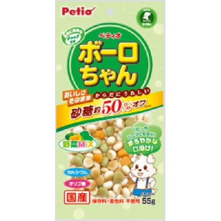 トロリとまろやかな口溶けでパピーやシニア犬にも安心 激安 メーカー公式ショップ 激安特価 送料無料 体にうれしい ボーロちゃん 野菜MIX 55g