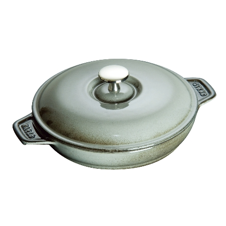 ストウブラウンドホットプレート20cmグレー40509-578【ストウブ鍋浅型調理器具】