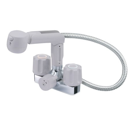ツーバルブスプレー混合栓(洗髪用)(寒 K3104K-LH-13【三栄水栓 SANEI K3104K-LH-13 水道用品 混合栓 洗面用】