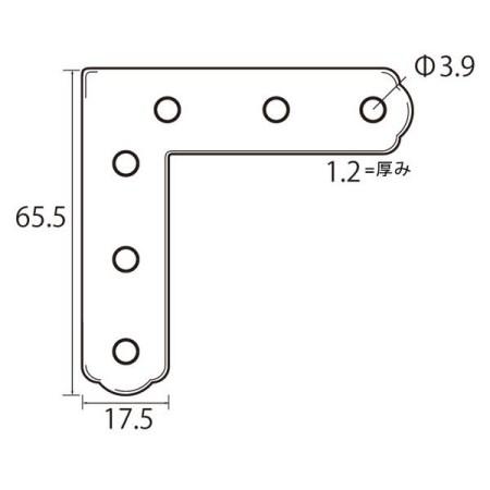 6296 ステンレス角金具65.5×17.5【福井金属工芸 額受用品 6296 額縁工作用金具】