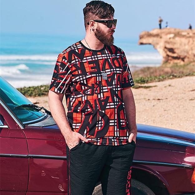 メンズトップス 大きいサイズ 数量限定 メンズTシャツ 半袖Tシャツ メンズファッション 男女兼用 ビッグサイズメンズ 新作人気 総柄レッド ついに再販開始 大きいサイズメンズTシャツ オリジナルデザイン おしゃれ 独特なデザインTシャツ