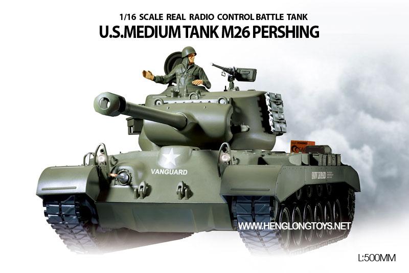 ラジコン戦車完成品ヘンロンHengLong 1/16 M26パーシング(2.4GHz・プラキャタピラ・BB・サウンド・発煙仕様)US M26 Pershing Tank plastic Tracks 3838-1
